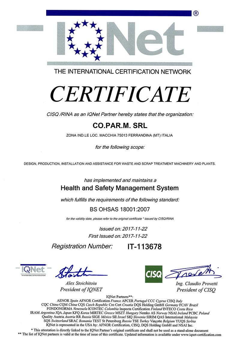 BS OHSAS 18001-2007 COPARM IQNet